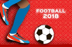 Football 2018 in paper cut style. Origami world championship on red. Football cup. Soccer boots. Sport. V. Ector Royalty Free Stock Images