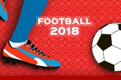Football 2018 in paper cut style. Origami world championship on red. Football cup. Soccer boots. Sport. Vector Stock Images