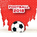 Football 2018 in paper cut style. Origami world championship on red. Football cup Sport. Russian architecture. Vector Stock Photos