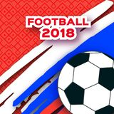 Football 2018 in paper cut style. Origami world championship on red. Football cup Sport. Russian tricolor flag. Vector Royalty Free Stock Images