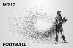 Football of the particles. The goalkeeper keeps mints in his hands. The composition consists of small circles. EPS 10 Stock Images