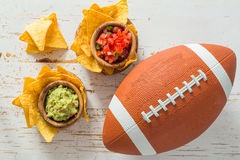 Football party food, super bowl day, nachos salsa guacamole Royalty Free Stock Photo