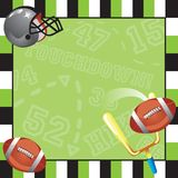 Football Party Invitation card. With decorative frame Royalty Free Stock Image