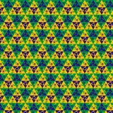 Football pattern against the colors of the Brazilian flag. Seamless football pattern against the colors of the Brazilian flag Stock Photography
