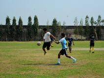 Football. A photo taken during a football match between two college teams in Kolkata,India Royalty Free Stock Photography