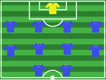 Football pitch. An illustration showing a top down view of a football team formation Stock Images