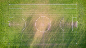 Football pitch, aerial view Royalty Free Stock Photos
