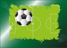 Football pitch. Football ball on the background with pitch Stock Photo