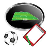 Football pitch, ball and notepad Royalty Free Stock Images