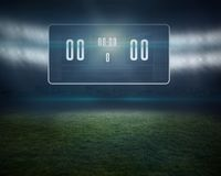 Football pitch with black scoreboard Royalty Free Stock Photos