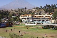 Football Pitch at Club Internacional Arequipa, Peru Stock Images
