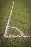 Football pitch corner. Corner marked out on local football pitch in park Royalty Free Stock Photography