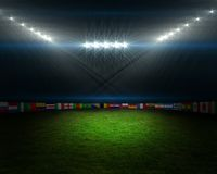 Football pitch with flags and lights Royalty Free Stock Image