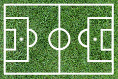 Football pitch on green grass Stock Photography
