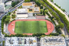 Football pitch from high tower stock photos