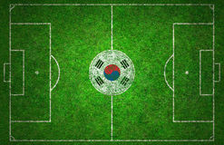Football Pitch. With Korea Republic flag Stock Image