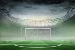 Football pitch in large stadium Stock Photos