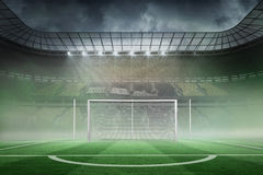 Football pitch in large stadium Stock Images