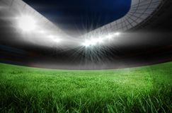 Football pitch in large stadium Royalty Free Stock Images