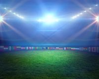 Football pitch with lights and flags Royalty Free Stock Images