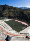 A football pitch high in the mountains Royalty Free Stock Photos