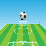 Football pitch-Soccer ball-3d Royalty Free Stock Photos