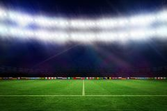 Football pitch with world cup flags Royalty Free Stock Photos
