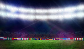 Football pitch with world cup flags Stock Photo
