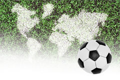 Football pitch, world map and the ball Stock Photos