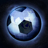 Football planet as Asia earth globe at cosmic view concept Stock Photo