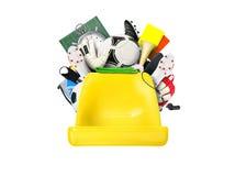 Football. Plastic yellow seat football stadium with football symbols Royalty Free Stock Images