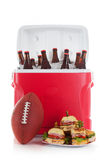 Football: Plate Of Sandwiches and Cold Beer Stock Image