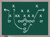 A football play on a chalkboard. Stock Photos