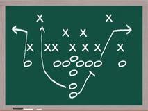 A football play on a chalkboard. Stock Photos