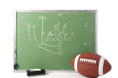 Football Play on Chalkboard. A diagram of a football play on a chalkboard with a football, chalk, eraser ane a whistle royalty free stock images