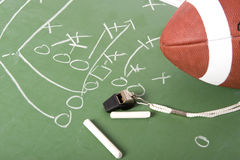 Football Play on Chalkboard. A diagram of a football play on a chalkboard with a football, chalk, eraser ane a whistle stock image
