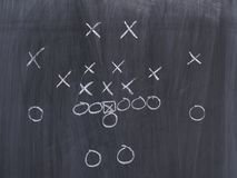 A football play on a chalkboard. Background with nobody stock images