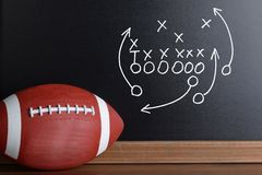 Football play strategy drawn out on a chalk board Royalty Free Stock Photography