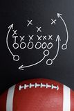 Football play strategy drawn out on a chalk board. With Rugby Ball stock photo