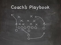 Football play. Strategy drwan out on a chalk board stock photo
