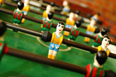 Football play table. Retro wooden football play table Stock Images