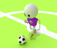 Football player. The football player runs across the field behind a ball stock illustration