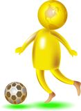 Football player. Isolated colourful illustration of football playing glob character Royalty Free Stock Photography