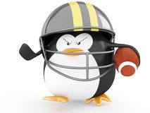 Football Player. Fat american football player penguin  - 3D render Royalty Free Stock Photography