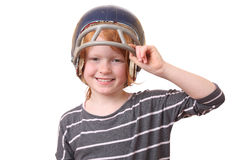 Football player. Girl with football helmet on white background Royalty Free Stock Images