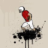 Football player. Illustration of a Football player on an abstract grungy background Stock Photos