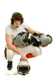 Football Player. American football player. Pose with shoulder pads and helmet stock images