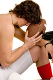 Football Player. American football player. Deep in concentration or regret after loss royalty free stock photos