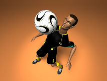 Football player. Black soccer player, 3d generated picture Royalty Free Stock Photos