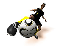 Football player. Black soccer player, 3d generated picture Royalty Free Stock Images